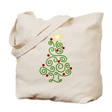 Swirly Christmas Tree Tote Bag