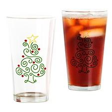 Swirly Christmas Tree Drinking Glass