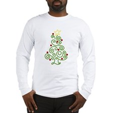 Swirly Christmas Tree Long Sleeve T-Shirt
