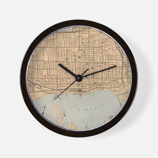 Vintage Map of Toronto (1906) Wall Clock