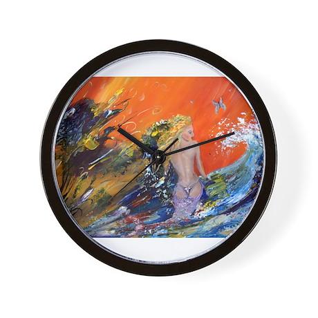 mermaid art Wall Clock