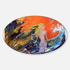 mermaid art Oval Decal