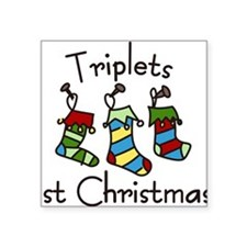 "Triplets 1st Christmas Square Sticker 3"" x 3"""