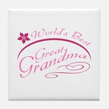 World's Best Great Grandma (pink) Tile Coaster