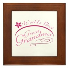 World's Best Great Grandma (pink) Framed Tile