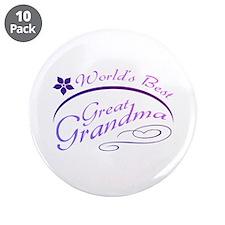 "World's Best Great Grandma (purple) 3.5"" Button (1"