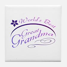 World's Best Great Grandma (purple) Tile Coaster