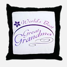 World's Best Great Grandma (purple) Throw Pillow