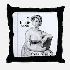 Jane Austen Blame Throw Pillow
