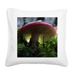Red Mushroom in Forest Square Canvas Pillow