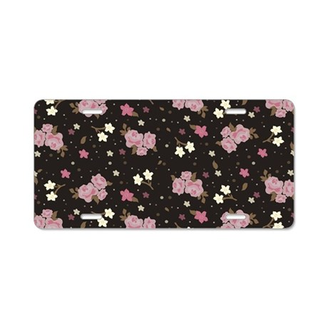 Pink Floral pattern Aluminum License Pla