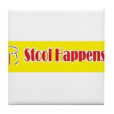 Stool Happens yellow Tile Coaster