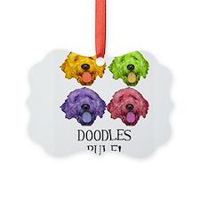 Cute Schnoodle Picture Ornament
