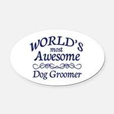 Dog Groomer Oval Car Magnet