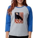 Bald Eagle and Flag Womens Baseball Tee