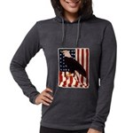 Bald Eagle and Flag Womens Hooded Shirt