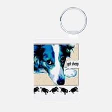 border collie got sheep2a.png Keychains