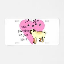 pugs pawprints.png Aluminum License Plate