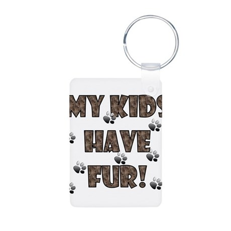 my kids have fur brown.png Aluminum Photo Keychain
