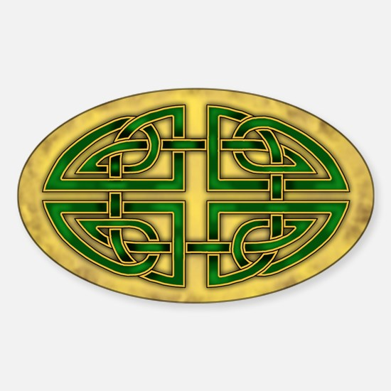 Celtic Knotwork (Green) Oval Decal