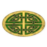 Celtic Knotwork (Green) Oval Sticker