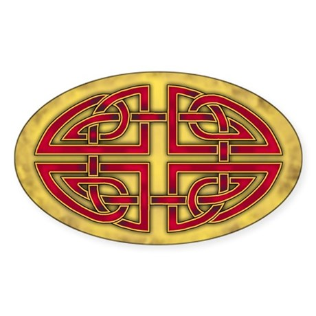 Celtic Knotwork (Red) Oval Sticker