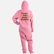 proud new great grandma black.png Footed Pajamas