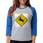 deer-crossing-sign.... Womens Baseball Tee