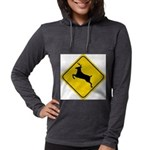 deer-crossing-sign.... Womens Hooded Shirt