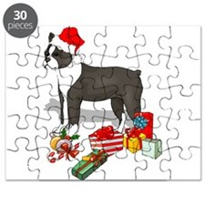 Boston Terrier Santa no back black.png Puzzle