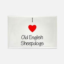 I Love Old English Sheepdogs Rectangle Magnet (10