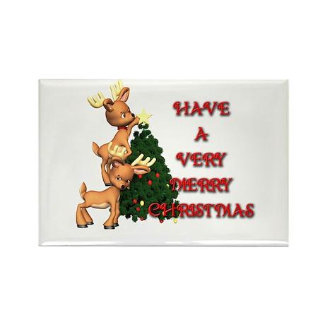 Reindeer Christmas Rectangle Magnet (100 pack)