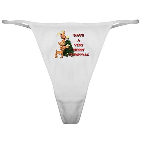 Reindeer Christmas Classic Thong