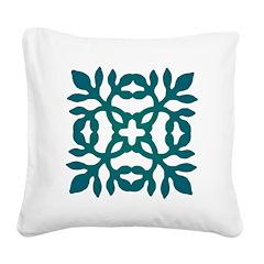 Green Papercut Square Canvas Pillow