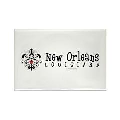 New Orleans Fleur Heart Rectangle Magnet (10 pack)