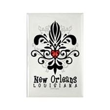 New Orleans Fleur Heart Rectangle Magnet
