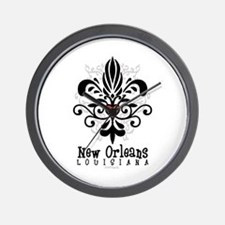 New Orleans Fleur Heart Wall Clock