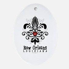 New Orleans Fleur Heart Oval Ornament