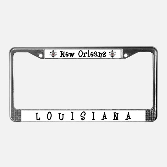 New Orleans Fleur Heart License Plate Frame