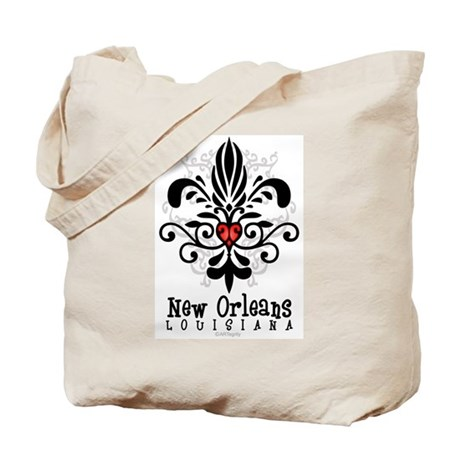 New Orleans Fleur Heart Tote Bag