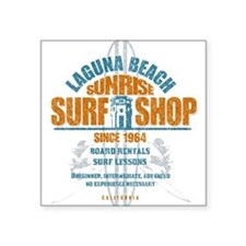 "Laguna Beach Surf Shop Square Sticker 3"" x 3"""