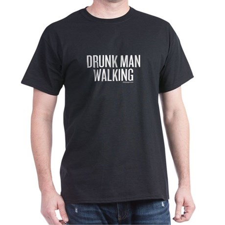 Drunk Man Walking Black T-Shirt