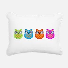 Colorful Owls Rectangular Canvas Pillow