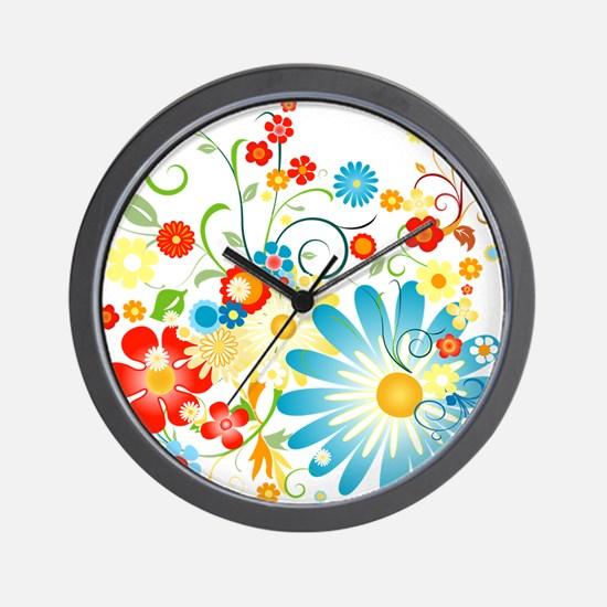 floweredvector.png Wall Clock