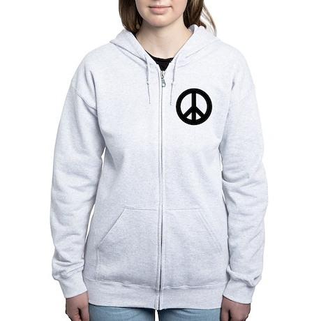 Black Peace Sign Women's Zip Hoodie