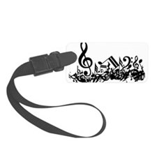 Black Musical Notes.png Luggage Tag