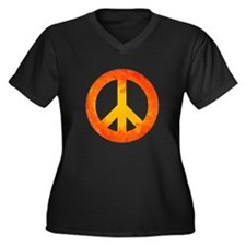 Peace on Fire Women's Plus Size V-Neck Dark T-Shir