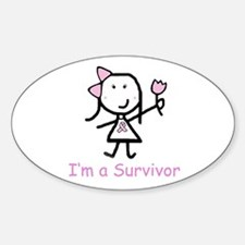 Pink Ribbon - Survivor Oval Decal