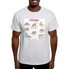 Cat YOGA POSES Ash Grey T-Shirt