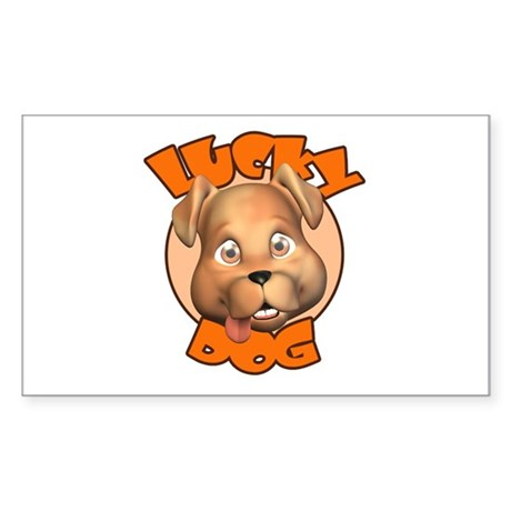 Lucky Dog Rectangle Sticker